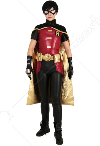 Superhero Cosplay Costume Bodysuit with Cape and Eyemask Inspired by Robin Make to Order