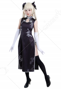 Sky of Connection Yosuga no Sora Sora Kasugano Schwarzer Cheongsam Qipao Kleid Cosplay Kostüm