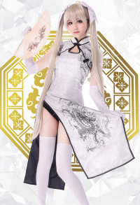 Yosuga no Sora Kasugano Sora White Cheongsam Dress Cosplay Costume