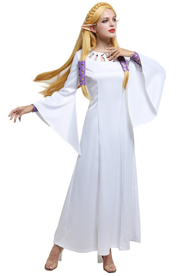 The Legend of Zelda Skyward Sword Cosplay Kostüm Zelda Prinzessin Ausgestellte Ärmel Rundhals Langes Weißes Kleid Cosplay Kostüm