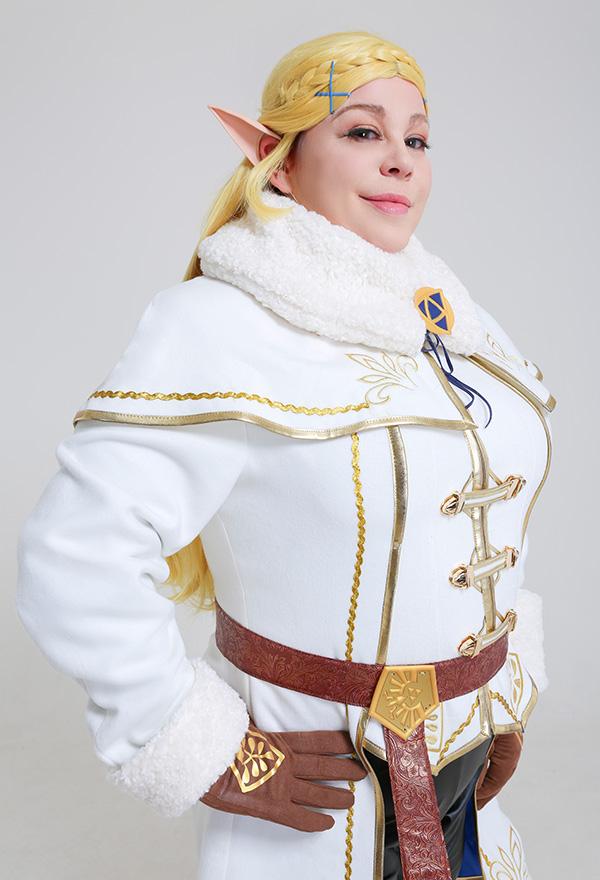 Übergröße The Legend of Zelda Breath of the Wild Prinzessin Zelda Winter Outfit Kleid Curvy Cosplay Kostüm