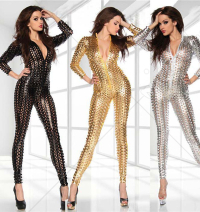 Holloween Jumpsuit Patent Leather Glossy Lingerie Bodysuit Zentai