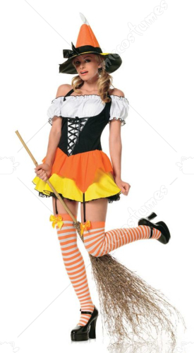 Candy Corn Witch Sexy Adult Costume