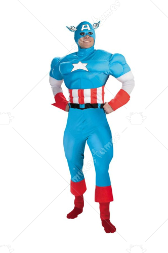 Captain America Deluxe Muscle Large Adult Costume