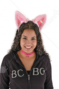 Cat Ears Col Tail Set Pink