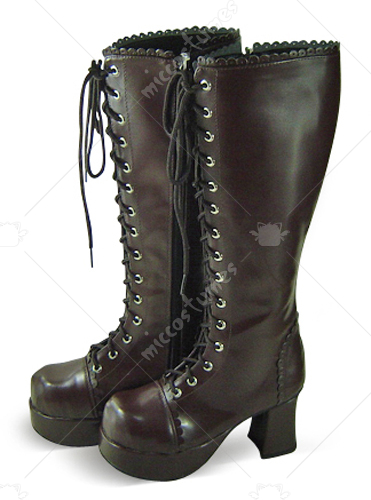 Chocolate Lace Up Platform Thick Heel Leather Knee Boots
