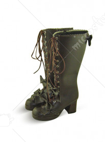 Chocolate Lace Up Thick Heel Platform Leather Knee Boots