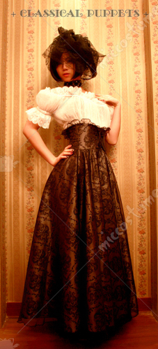 Classical Puppets Europe Styled Dark Fringe Gothic Lolita Long Skirt