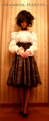 Classical Puppets Europe Styled Dark Fringe Natural Waist Gothic Lolita Pantskirt