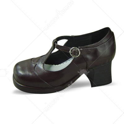 Coffee Metal Buckle Lolita Shoes