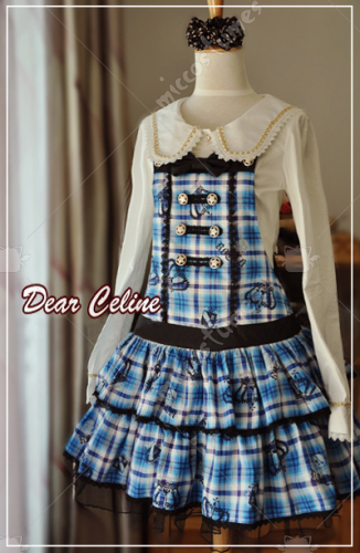 Dear Celine Autumn preppy style plaid suspender dress