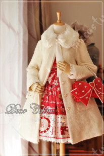 Dear Celine Bowknot Fur Collar Wool Lolita Overcoat