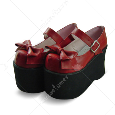 Dark Red Metal Buckle Bowknot Platform Lolita Shoes