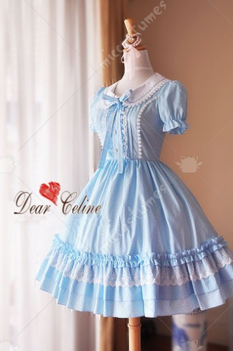 Dear Celine Summer Lapel Short Puff Sleeve Cotton Lolita Dress