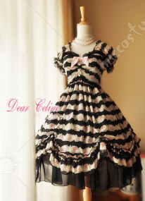 Dear Celine Summer Princess Printed Rose Chiffon Lolita Dress