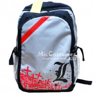 Death Note L Red Print Silver Grey School Bag