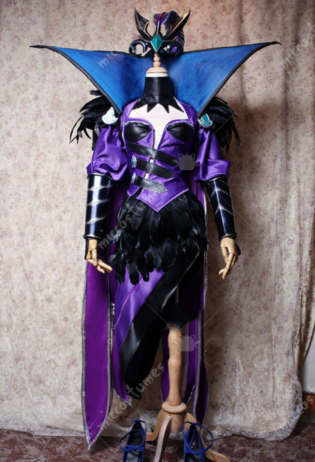 Disfraz Cosplay de exclusivo de League of Legends Ravenborn LeBlanc hecho a mano con conjunto de armadura