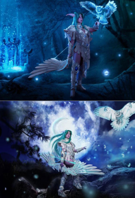 Exclusive Handmade World of Warcraft Heroes of the Storm Tyrande Whisperwind High Priestess of Elune Cosplay Costume with Arm