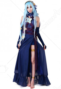 Fire Emblem Fates Conquest Azura Blue Cosplay Costume (stickers and veil included)