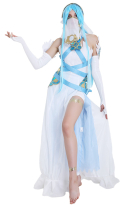 Fire Emblem Fates Birthright Singer White Azura Cosplay Costume (headwear and stickers included)