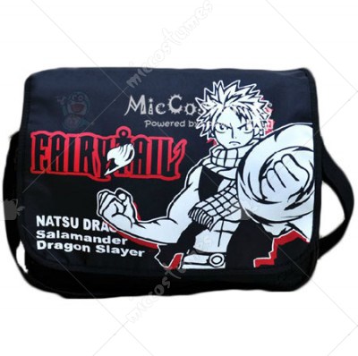 Fairy Tail Natsu Dragneel White Print Black Shoulder Bag