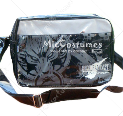 Final Fantasy Black Shoulder Bag Burnished Leather