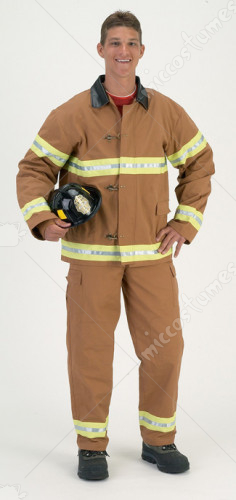 Fire Fightr Adult Tan With Helmet Adult Costume