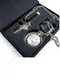 Fullmetal Alchemist Pocket Watch Ring Necklace Jewelry Set