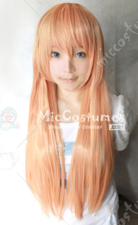 Gold Pink Simple 80cm Cosplay Wig