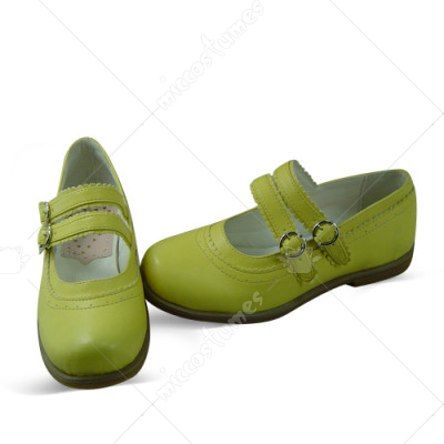 Green Metal Buckle Wrap Lolita Shoes