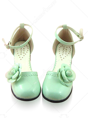 Green Round Toe Ankle Wrap Thick Heel Leather Pump