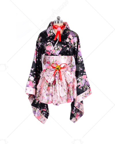 Japanese Kimono Lolita Maid Uniform Outfit Cosplay Costume