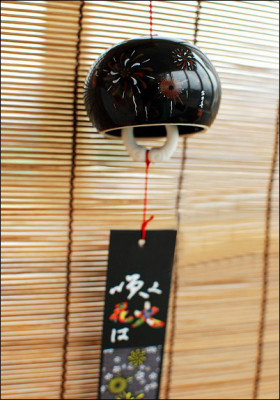 Japanese Ceramic Fireworks Black Wind Chime