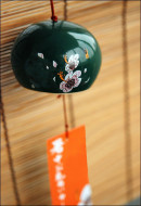Japanese Ceramic Hibiscus Wind Chime