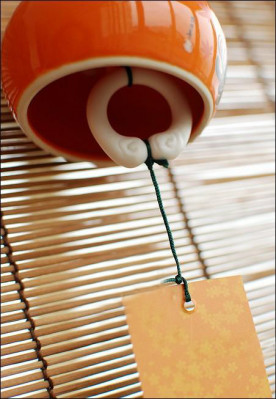 Japanese Ceramic Orange Wind Chime Autumn Chrysanthemum