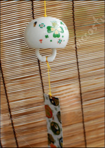 Japanese Ceramic Wind Chime Lucky Four Leaf Clover