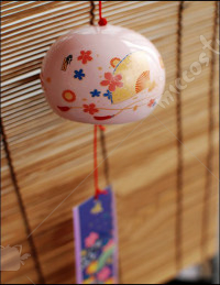 Japanese Ceramic Wind Chime Pink Sakura Fan