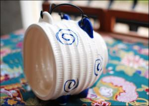 Japanese Dark Blue Piggy Ceramic Mosquito Coil Burner