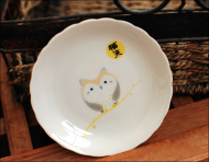 Japanese Fortune Come Owl Ceramic Plate