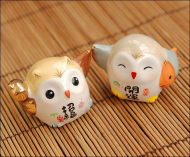 Japanese Fortune Owl for Luck Ceramic Toy