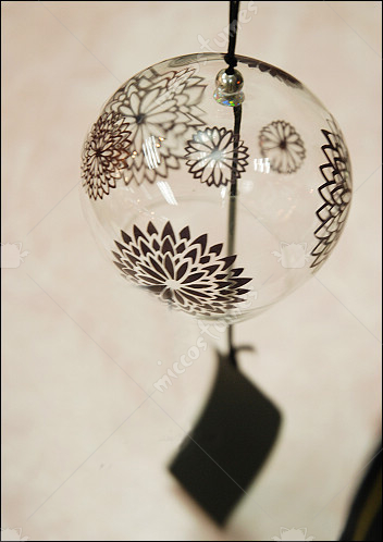 Japanese Glass Wind Chime Black Chrysanthemum