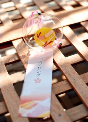 Japanese Glass Wind Chime Sakura Moon Rabbit