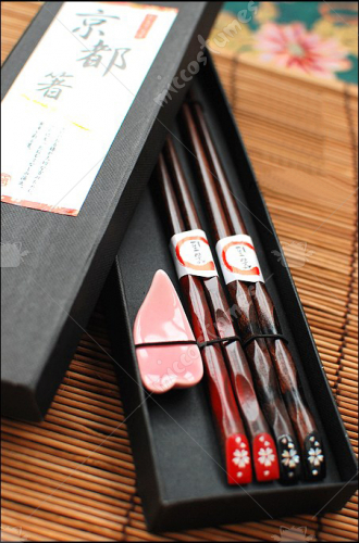 Japanese Sakura Chopsticks Couple Set Ceramic Chopsticks Rest