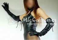 Japanese Sexy Black Leather Long Sleeve Gloves