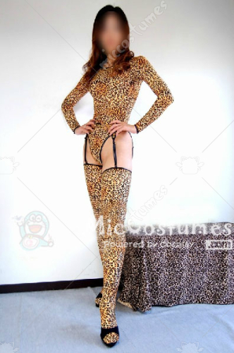 Japanese Sexy Leopard Zentai with Stocking