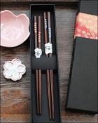 Japanese Sakura Mahogany Chopsticks Couple Hashi Set