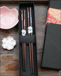 Japanese Sakura Mahogany Chopsticks Couple Hashi Set