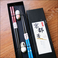 Japanese Rabbit Mahogany Chopsticks Couple Hashi Set with Chopsticks Rest