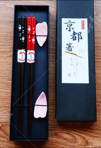 Japanese Sakura Chopsticks and Rest Set