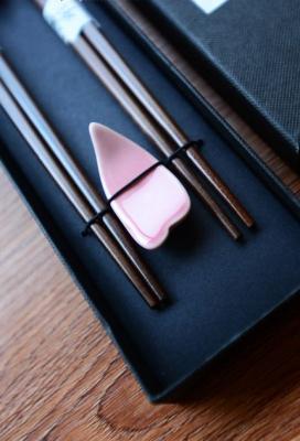 Japanese Sakura Mahogany Chopsticks and Rest Set